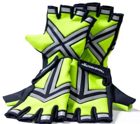 (HALTZGLOVES Nighttime High Density High Visibility Reflective Traffic Glove - Fingerless Gloves (X-Large))