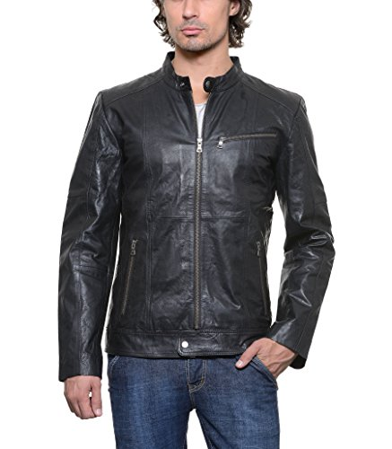 Teesort Genuine Leather Men's Jacket-Black