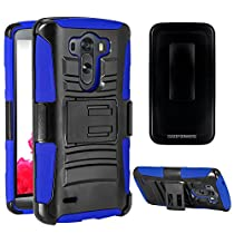 LG G3 Vigor Case, CASEFORMERS Duo Armor for LG G3 Vigor Combo Case with Stand and Holster - Blue (Compatible with LG G3 Vigor, G3 Mini Version Only)