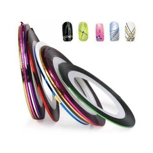 Nail Tape Strip Glitter Sticker 10 Color Nail Art Beauty Decoration AOSTEK(TM)