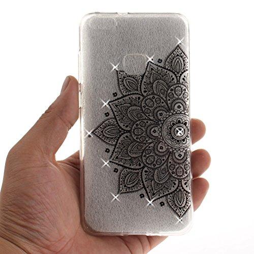Funda Huawei P10 Lite, CaseLover Carcasa 3D Bling Glitter Silicona Transparente TPU para Huawei P10 Lite (5.1 pulgadas) Ultra Delgado Suave Flexible Caja Cristal Brillantes Piedras Protectora Caso Ant Media flor negra