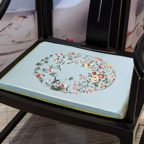 JYTT Non Slip Cozy Couch Chair Pads Sofa Seat Pad Embroidered Redwood Padded Cushion Sponge Dining Chair Bench All Seasons Chinese Style Yellow Blue Red Beige-d 45x45x3cm (Chair Embroidered Pads)