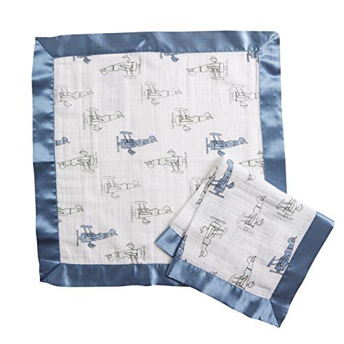 Aden by Aden + Anais Issie Security Blanket, Super Soft 100% Cotton Muslin, 2 Pack, Sky (Fleece Security Blanket)