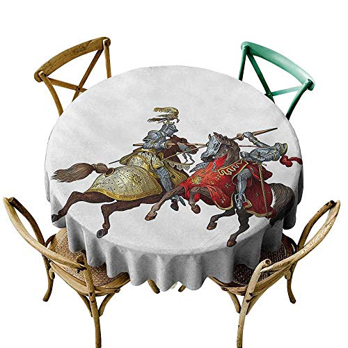 Jbgzzm Easy Care Tablecloth Medieval Middle Age Fighters Knights with Ancient Costume Renaissance Period Illustration Great for Buffet Table D35 Multicolor -