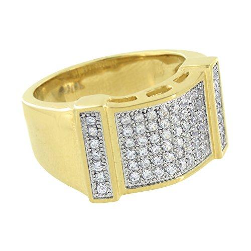 Over Stainless Steel Diamond Ring - Mens Wedding Ring Band Lab Created Diamond Gold Over Stainless Steel 316 13 MM (11)