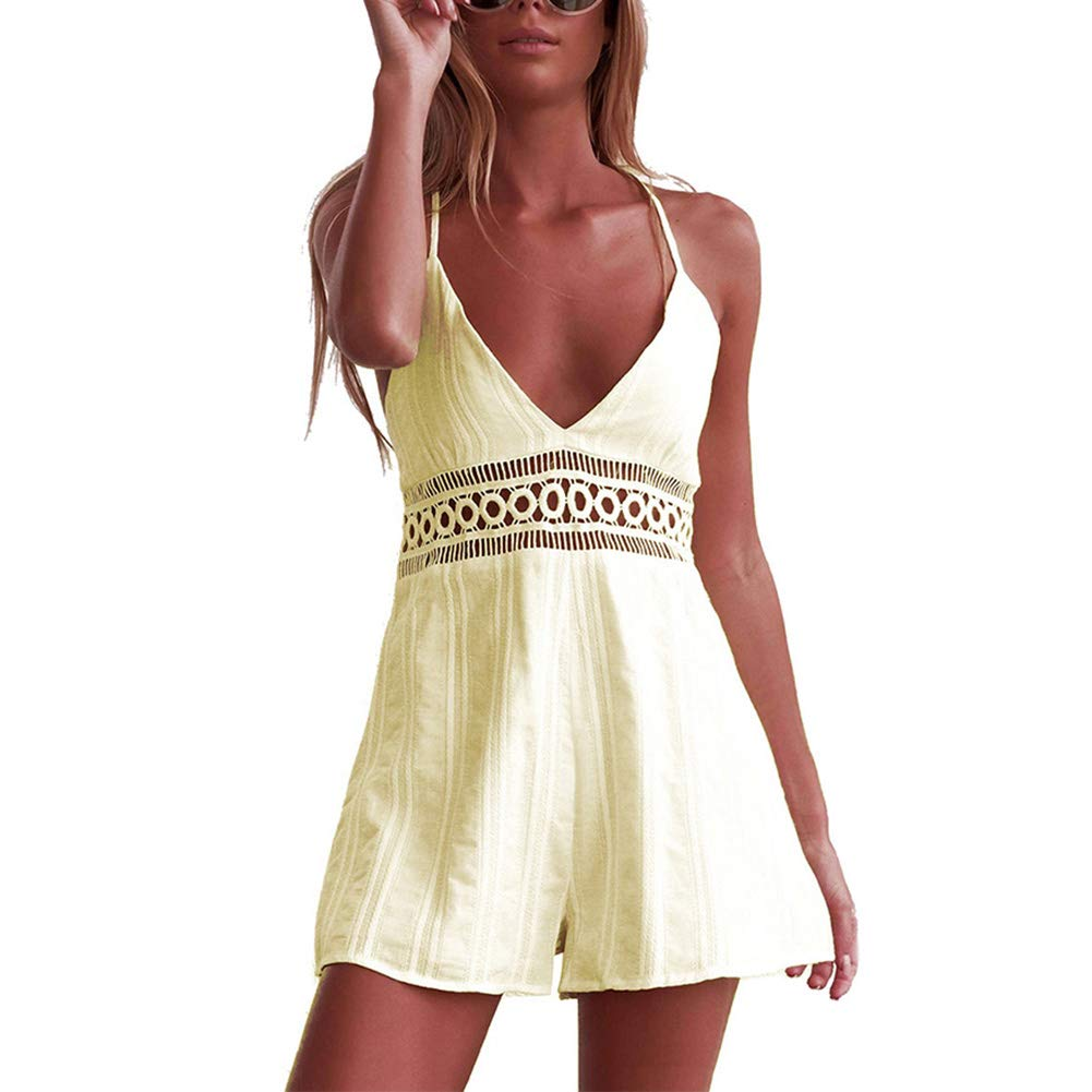 Desirepath Women Rompers Shorts Sexy V Neck Spaghetti Strap Casual High Waist Summer Jumpsuit Yellow