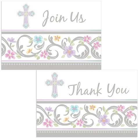 Amscan Party Supplies Blessed Day Invite & Thank You Card Set, 3.9