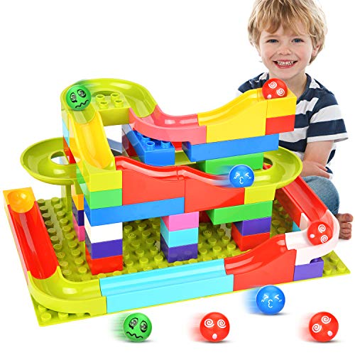 Victostar Marble Run Building Blocks Construction Toys Set Puzzle Race Track for Kids 73 Pieces