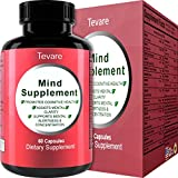 Super Potent & Natural Brain, Memory & Mind Booster ● Nootropic Mind Supplement Natural Power Boost for Day and Night! Increase Function ● Works Fast for Women and Men ● USA Made By Tevare