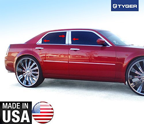 Made in USA! Works With 05-10 Chrysler 300/300C 6PC Stainless Steel Chrome Pillar Post ()
