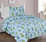 Golden linens Twin Size 2 Pieces Multi color Blue Green Gray Robots Design Printed Quilt/ Bedspread/ Coverlet With One Pillow Sham for Boys / Kids/ Teens Robot Quilt