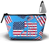 American Flag Short Track Speed Skating Camping Kitchen Makeup Organizers Lightweight Tote Organizers