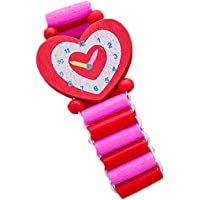 FnieYxiu Colorful Heart Star Flower Kids Wooden Bracelet Watch Elastic Wristband Toy