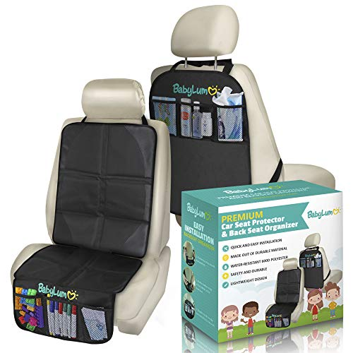BabyLum Auto Car Seat Protector Mat + Back Seat Organiser with Waterproof Anti-Slip Backing and 3 Organizer Pockets to Protect Your Leather and Upholstery Car Seats from Damage