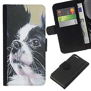 EJOY---La carpeta del tirón la caja de cuero de alta calidad de la PU Caso protector / Apple Iphone 5C / --Papillon Perro Negro Blanco Pequeño pelo largo
