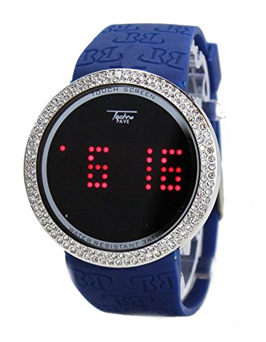 Techno Pave Iced Out Bling Lab Diamond Silver Blue Digital Touch Screen Sports Wa...