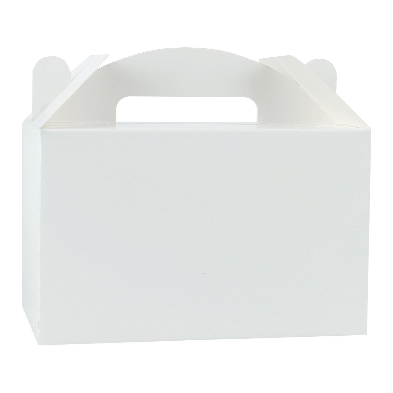 LaRibbons 1 Dozen White Color Treat Boxes Birthday Party Favors Shower Favor Box, 9.5'' x 5'' x 5''