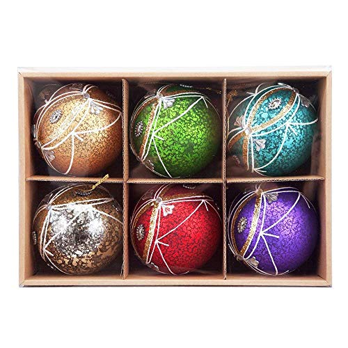 Jeweled Christmas Tree - Comix Christmas Balls Ornaments Shatterproof Christmas Tree Decorations Xmas Trees Wedding Party Home Decors (3.15''- 6pk, Matt Jeweled Speckled)