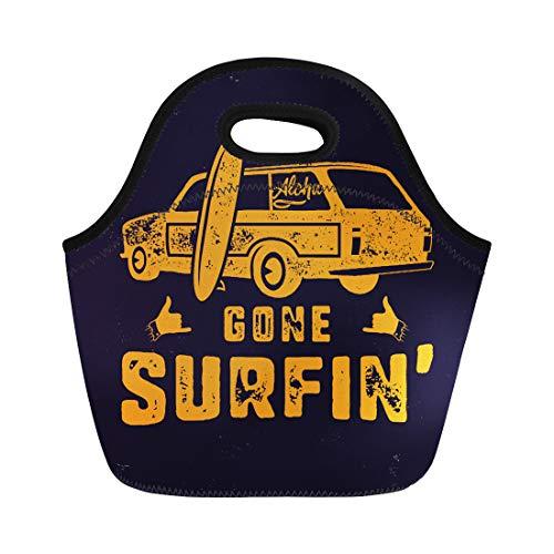 (Semtomn Neoprene Lunch Tote Bag Vintage Summer Gone Surfing Surf Old Car Van Reusable Cooler Bags Insulated Thermal Picnic Handbag for Travel,School,Outdoors,Work)