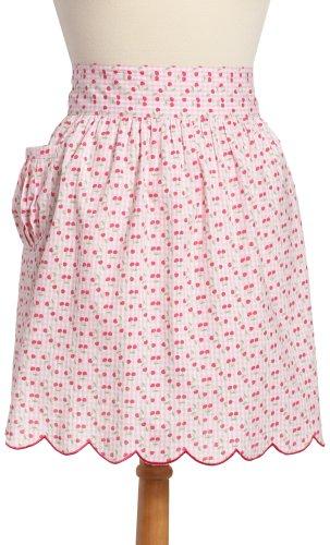 DII Vintage Pink Cherry Gingham Half Apron