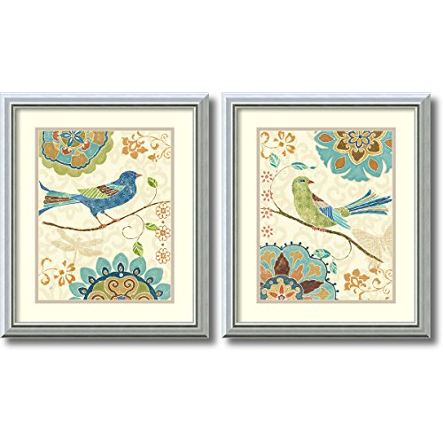 Framed Art Print, 'Eastern Tale Birds - set of 2' by Daphne Brissonnet: Outer Size