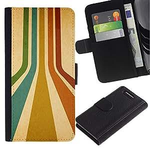 LASTONE PHONE CASE / Lujo Billetera de Cuero Caso del tirón Titular de la tarjeta Flip Carcasa Funda para Sony Xperia Z1 Compact D5503 / Stripes Retro Colors Lines Turquoise Art Red