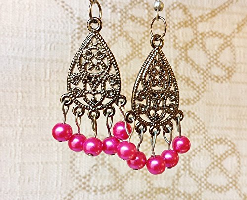 Chandelier Dance Costume (Steampunk Filigree Glass Simulated Pearl Earrings ~ Hot Pink Gypsy Chandelier Style Exotic Dancewear, Anniversary Gift, Alternative Bridal Jewelry, Boho)