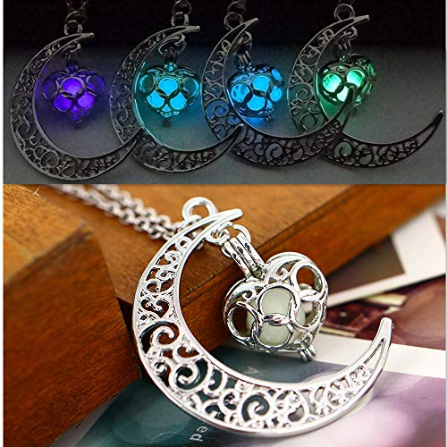 KIKOLE Moon Pendant Necklace Great Gift for Women Glow Luminous Hollow with Ball Night Light Necklace (Blue Green)