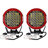 (US) Turbo SII CREE Pair 9 Inch Round 111W Indensity Led Spot Light Driving Lights Headlamp For Offroad 4wd 4x4 JEEP FORD TOYOTA Pickup Auxliary Front Bumper/Roof Driving Headlight 8000LM(37PCS3W) Red