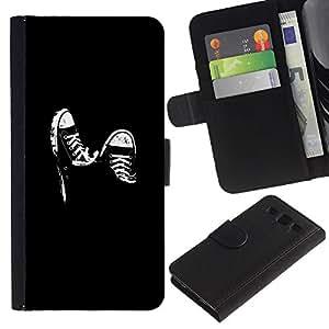 """A-type (Sneaker Grunge B & W"""") Colorida Impresión Funda Cuero Monedero Caja Bolsa Cubierta Caja Piel Card Slots Para Samsung Galaxy S3 III i9300 i747"""