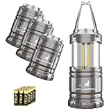 LED Camping Lantern - MalloMe LED Camping Lantern Flashlights 4 Pack - SUPER BRIGHT - 350 Lumen Portable Outdoor Lights with 6 AA Batteries (Grey, Collapsible)
