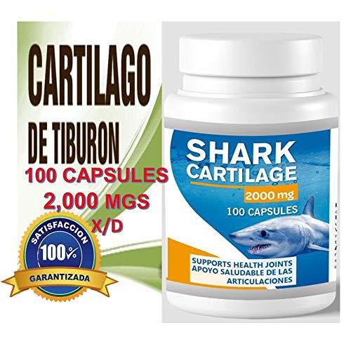 Shark Cartilage 2000 mg (100 Capsules) Cartilago de Tiburon glucosamina dieta huesos Health