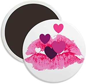 Pink Lip Hearts Valentine's Day Round Ceramics Fridge Magnet Keepsake Decoration