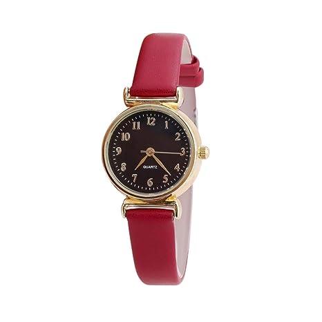 ... de Cuero de la Correa de Cuero de la Piel Reloj de los Hombres Relojes de los Amantes de Cuarzo Reloj de la Mujer(Black1): Amazon.es: Ropa y accesorios