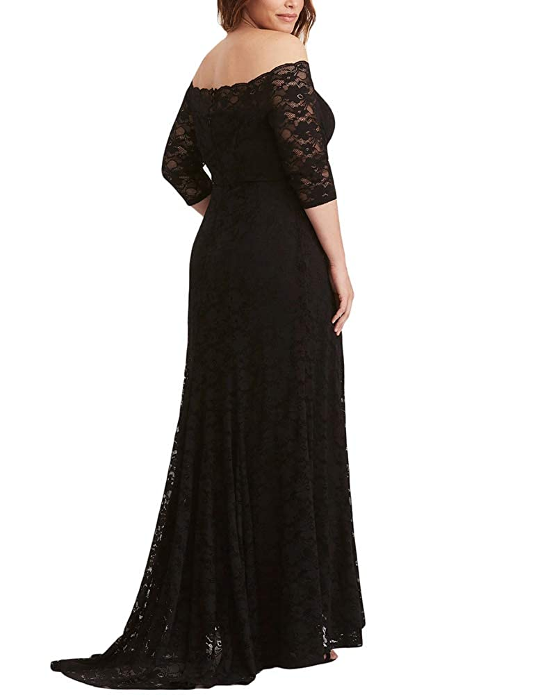 ae31b61055e Lalagen Womens Plus Size Lace Off Shoulder Wedding Dress Evening Party Maxi  Gown at Amazon Women's Clothing store: