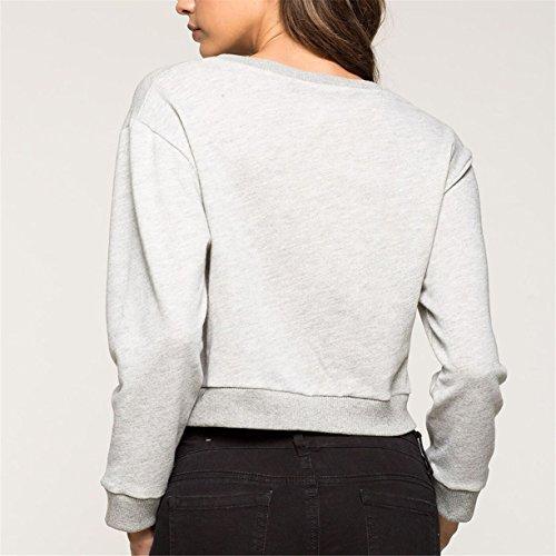 Femmes Sweatshirts, Reaso Lettres Mode Imprimé à manches longues Paragraphe court col rond Top
