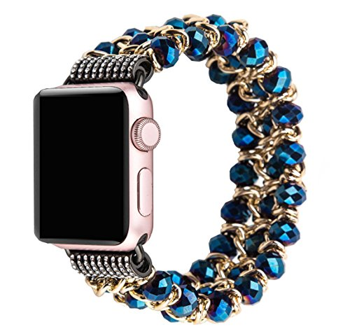 Apple Watch Band 42mm, Fashion Handmade Elastic Stretch Crystal Beaded Bracelet Metal Chain Women Girls Strap Wristband for Apple Watch Series 3/2/1, Edition,Sports (blue-42mm) from WOLOW