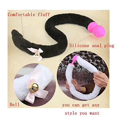 Sexy Cat Fox Tail Long Fur Cosplay Party Costume Lady Girls Gift,Cat Fox Tail Plug Anal Plugs with Bell (S, Black)