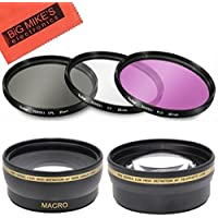 Deluxe Lens Kit for Nikon D3400, D5600, DL24-500, DL 24-500MM Cameras - Includes: 55mm filter Set + 55mm Wide Angle Lens + 55mm Telephoto Lens