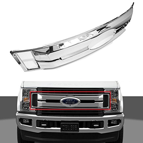 EZ MOTORING Chrome Grille Grill Full Snap On Overlay Cover (NOT direct mounted replacement) for 2017-2018 Ford F250 F350 F450 Super Duty XL