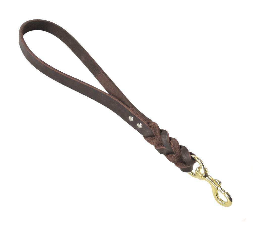 teck Leather Short Dog Heavy Duty Leash for Large Dogs Training and Walking (16'' x 3/4''-Braid) by teck