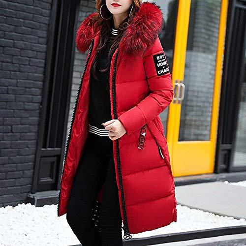 Duvet Grande Tomwell Zippé Doudoune Capuche Rouge Manteau Longue Coton Taille Avec Femme Hiver Fourrure De wxHqAHZz7