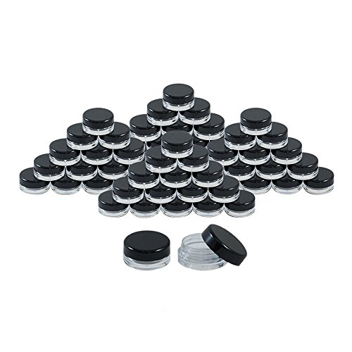 Plastic Sample Jars - Houseables 3 Gram Jar, 3 ML Jar, 50 pcs, BPA Free, Cosmetic Sample Empty Container, Plastic, Round Pot Black Screw Cap Lid, Small Tiny 3g Bottle, for Make Up, Eye Shadow, Nails, Powder, Paint, Jewelry