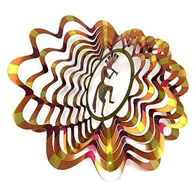 WorldaWhirl Whirligig 3D Wind Spinner Hand Painted Stainless Steel Kokopelli (12