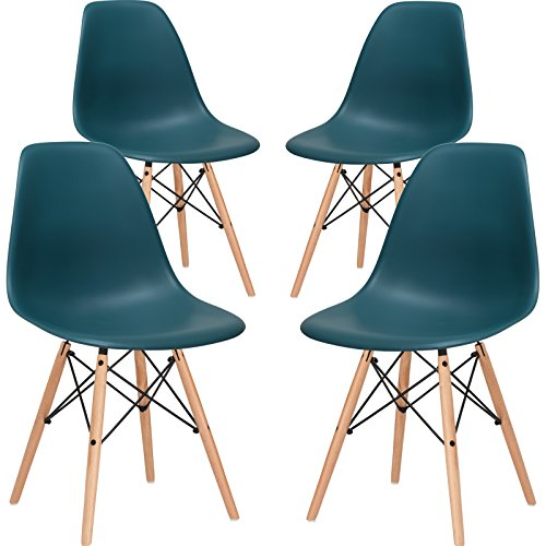 Poly and Bark Vortex Side Chair, Teal, Set of 4