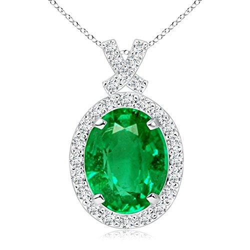 Vintage Style Emerald Pendant with Diamond Halo in Platinum (10x8mm Emerald)