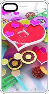 Colorful Multiple Size Hearts & Circles For Girls White Plastic Case for Apple iPhone 4 or iPhone 4s