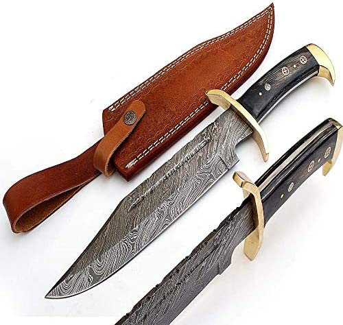 SharpWorld 15 Inches Custom Damascus Knife Black Wood Handle w Brown Leather Sheath TJ120