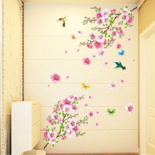 FORUU 2019 Wall Stickers Decals Murals Large Cherry Blossom Flower Butterfly Tree Art Decal Home DecorUnder 5 Dollars Discount New -