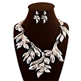 Fashion Stunning Silver Tone Alloy Leaves Charm Necklace Earrings Jewelry Set for Women